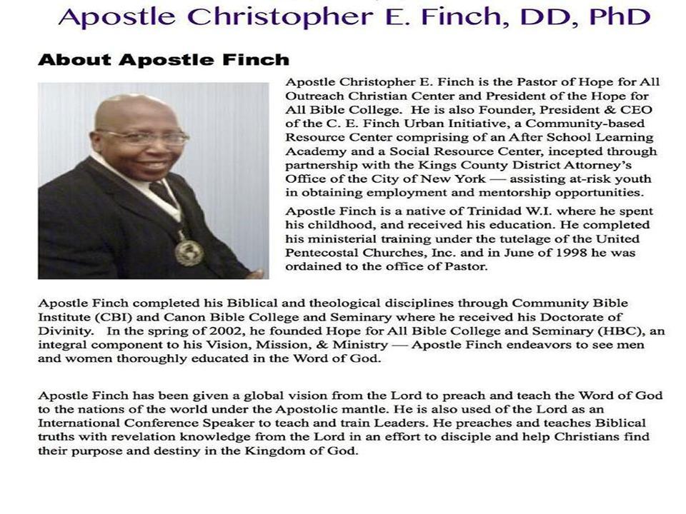 Apostle Christopher E Finch -- 2.12.15